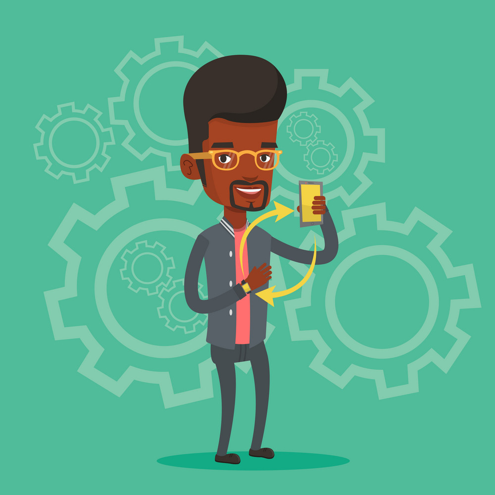 Young african man showing his smartphone and smart watch on the background with cogwheels. Concept of synchronization between smart watch and smartphone. Vector flat design illustration. Square layout
