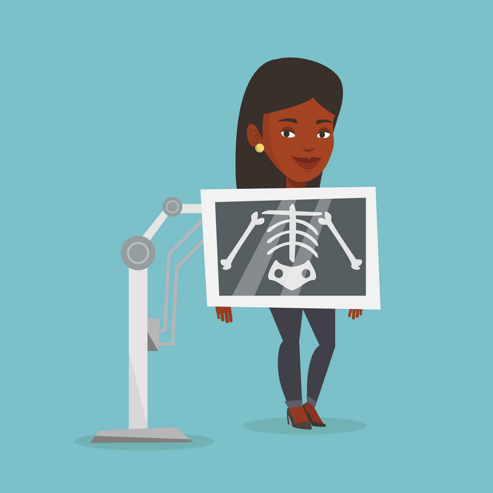 Young african woman during chest x ray procedure. Smiling woman with x ray screen showing her skeleton. Happy female patient visiting roentgenologist. Vector flat design illustration. Square layout.