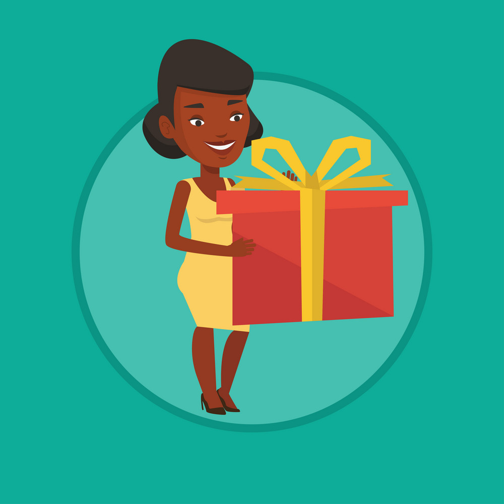 Young african woman holding a box with gift in hands. Woman holding gift box. Woman standing with gift box. Girl buying a present. Vector flat design illustration in the circle isolated on background.