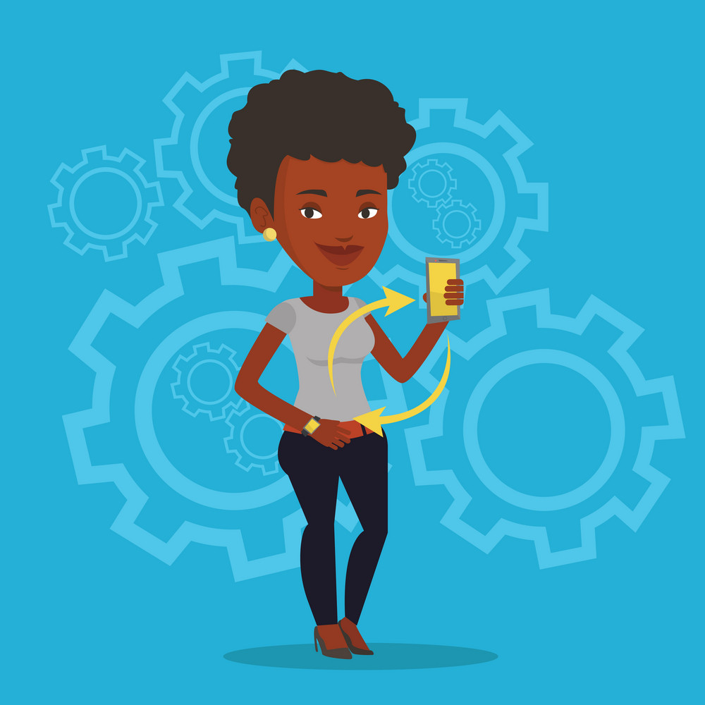 Young african woman showing her smartphone and smart watch on the background of cogwheels. Concept of synchronization between smart watch and smartphone. Vector flat design illustration. Square layout