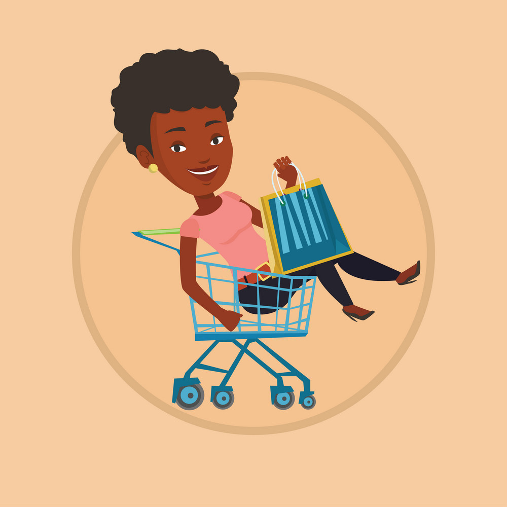 Young african woman with a lot of shopping bags sitting in shopping trolley. Customer having fun while riding by shopping trolley. Vector flat design illustration in the circle isolated on background.