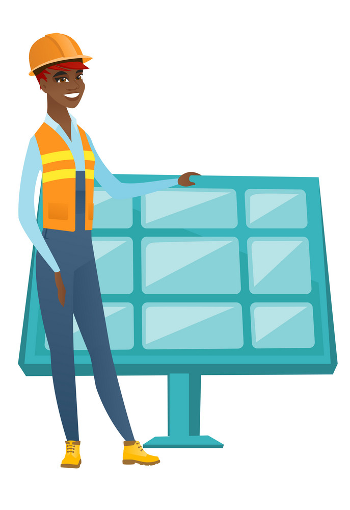 Young african worker of solar power plant. Engineer checking solar panel setup. Engineer standing on the background of solar power plant. Vector flat design illustration isolated on white background.