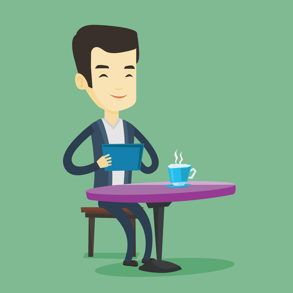 Young asain man using a tablet computer in a cafe. Man surfing in the social network. Man rewriting in social network in a cafe. Social network concept. Vector flat design illustration. Square layout.