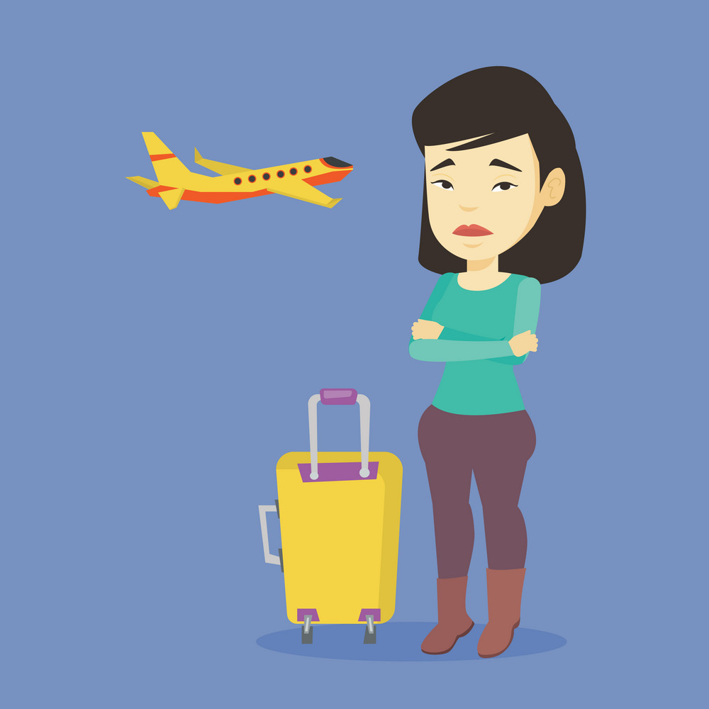 Young asian airplane passenger frightened by future flight. Woman suffering from fear of flying. Terrified passenger with suitcase waiting for a flight. Vector flat design illustration Square layout.