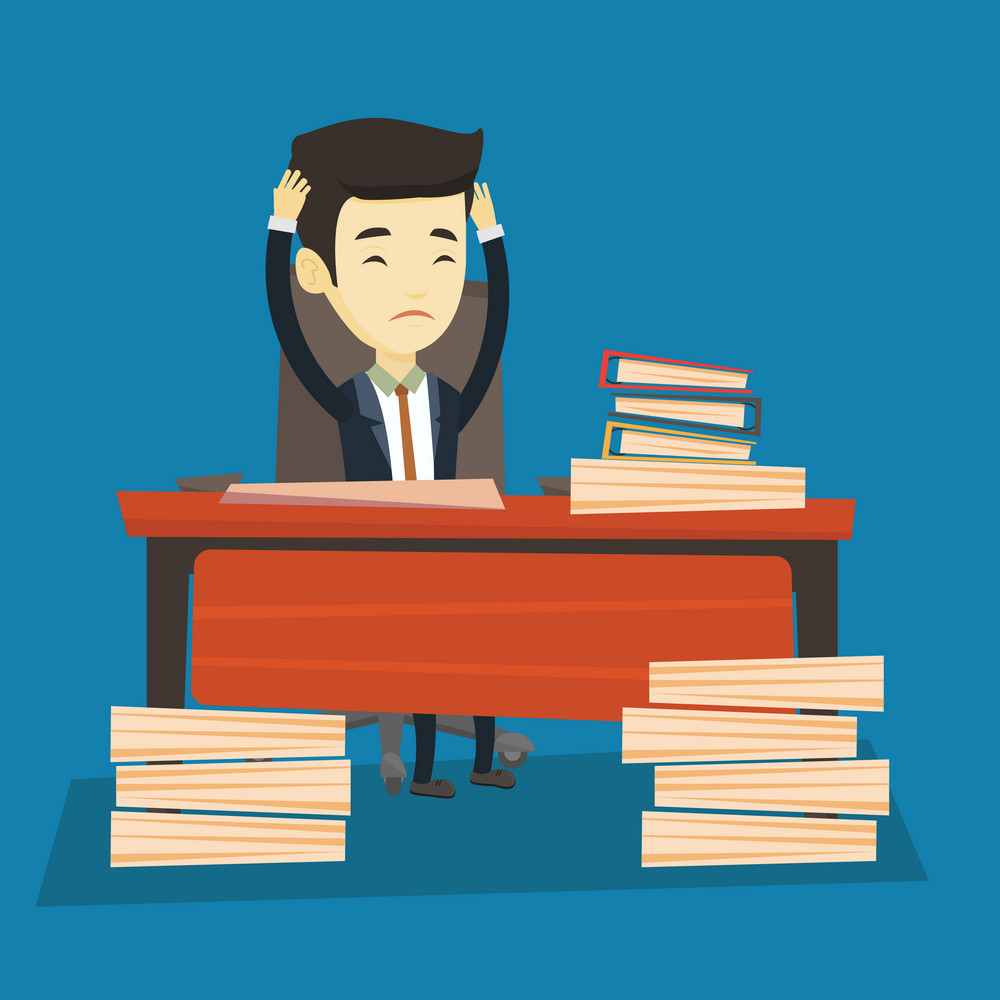 Young asian bsiness man in despair sitting at workplace in office with heaps of papers. Stressful business man sitting at the desk with stacks of papers. Vector flat design illustration. Square layout