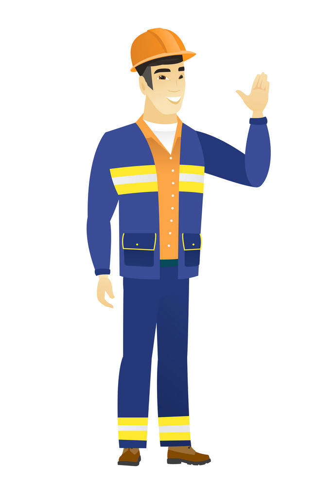 Young asian builder in hard hat waving his hand. Full length of builder waving his hand. Builder making greeting gesture - waving hand. Vector flat design illustration isolated on white background.