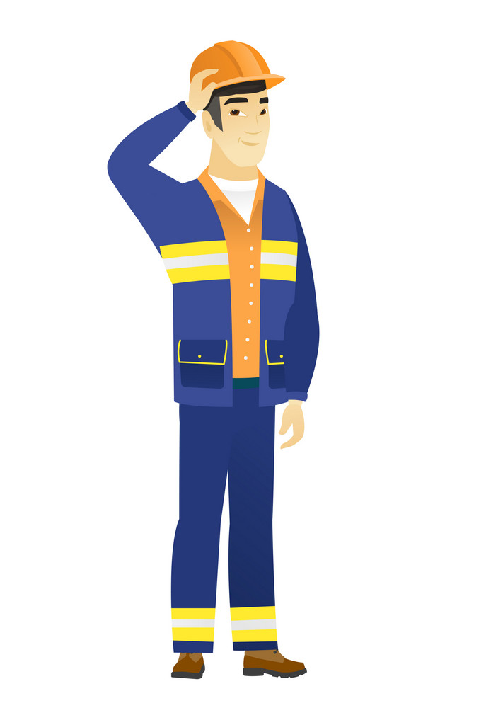 Young asian builder in workwear. Builder in workwear laughing with hand on his head. Builder in workwear laughing ant touching his hat. Vector flat design illustration isolated on white background.