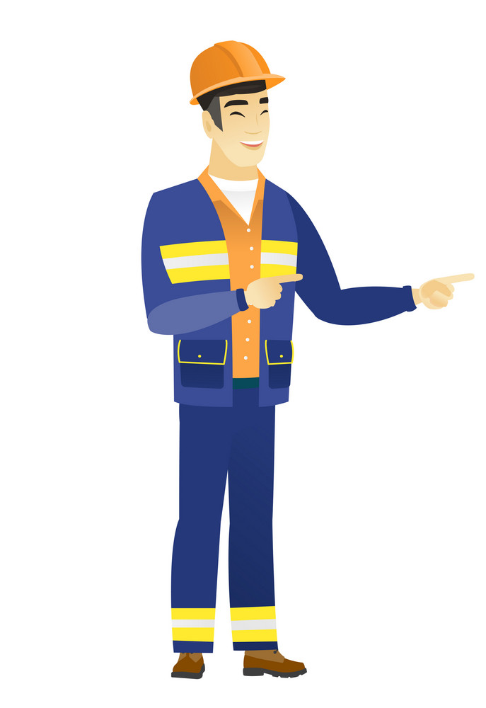 Young asian builder indicating with two fingers to the side. Full length of cheerful builder pointing with two fingers to the side. Vector flat design illustration isolated on white background.
