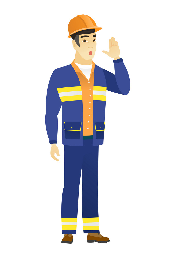 Young asian builder lost and calling for help. Full length of builder calling for help. Builder in trouble calling for help. Vector flat design illustration isolated on white background.