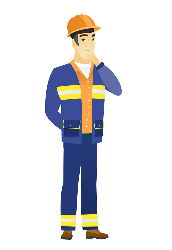 Young asian builder thinking. Full length of thinking builder with hand on chin. Builder thinking and looking to the side. Vector flat design illustration isolated on white background.