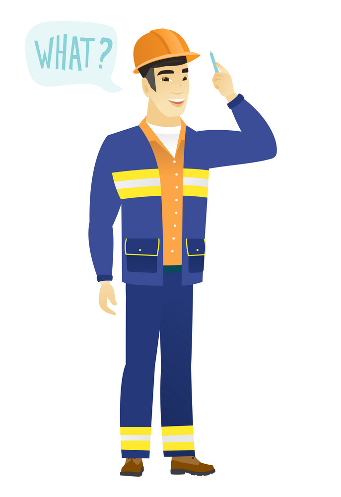 Young asian builder with question what in speech bubble. Full length of smiling builder with text what in speech bubble. Vector flat design illustration isolated on white background.