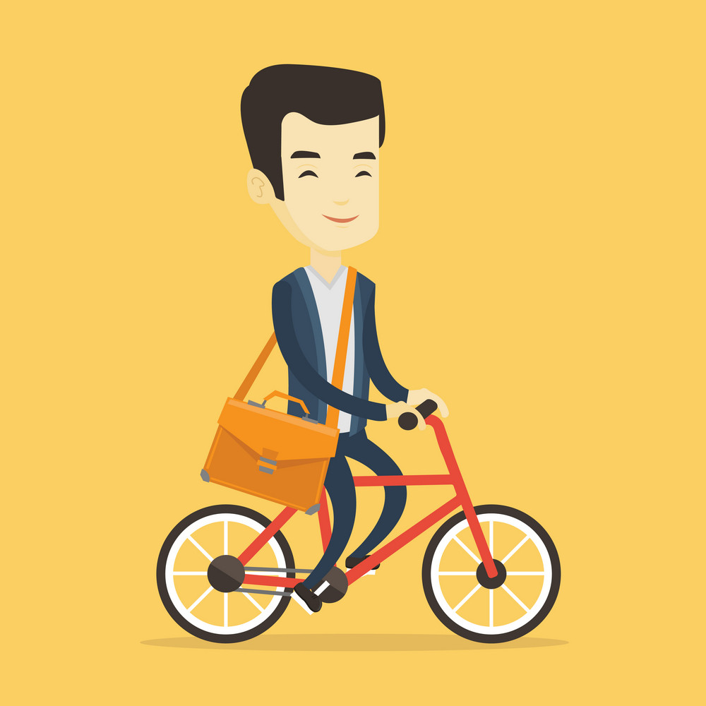 Young asian business man riding a bicycle. Man in business suit riding a bicycle. Business man riding to work on a bicycle. Healthy lifestyle concept. Vector flat design illustration. Square layout.