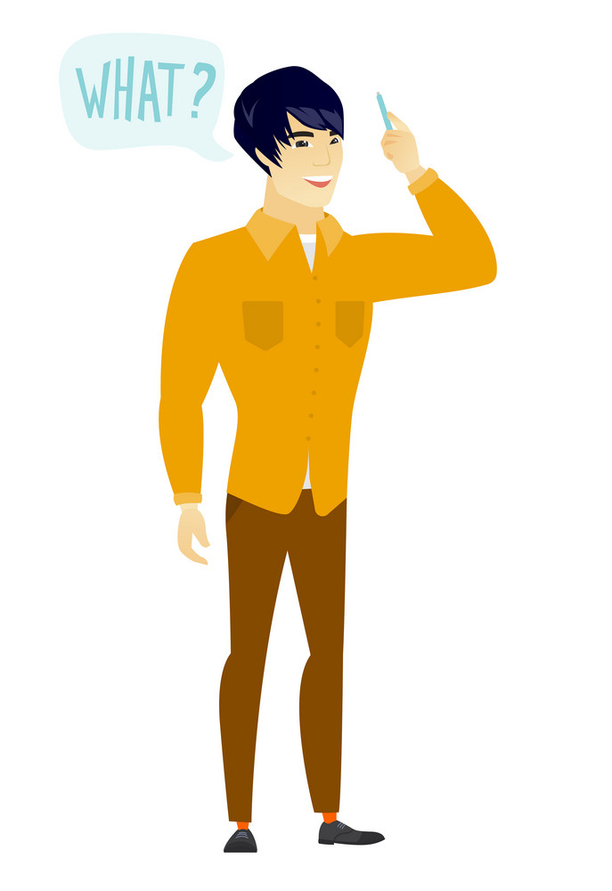 Young asian  business man with question what in speech bubble. Full length of smiling business man with text what in speech bubble. Vector flat design illustration isolated on white background.