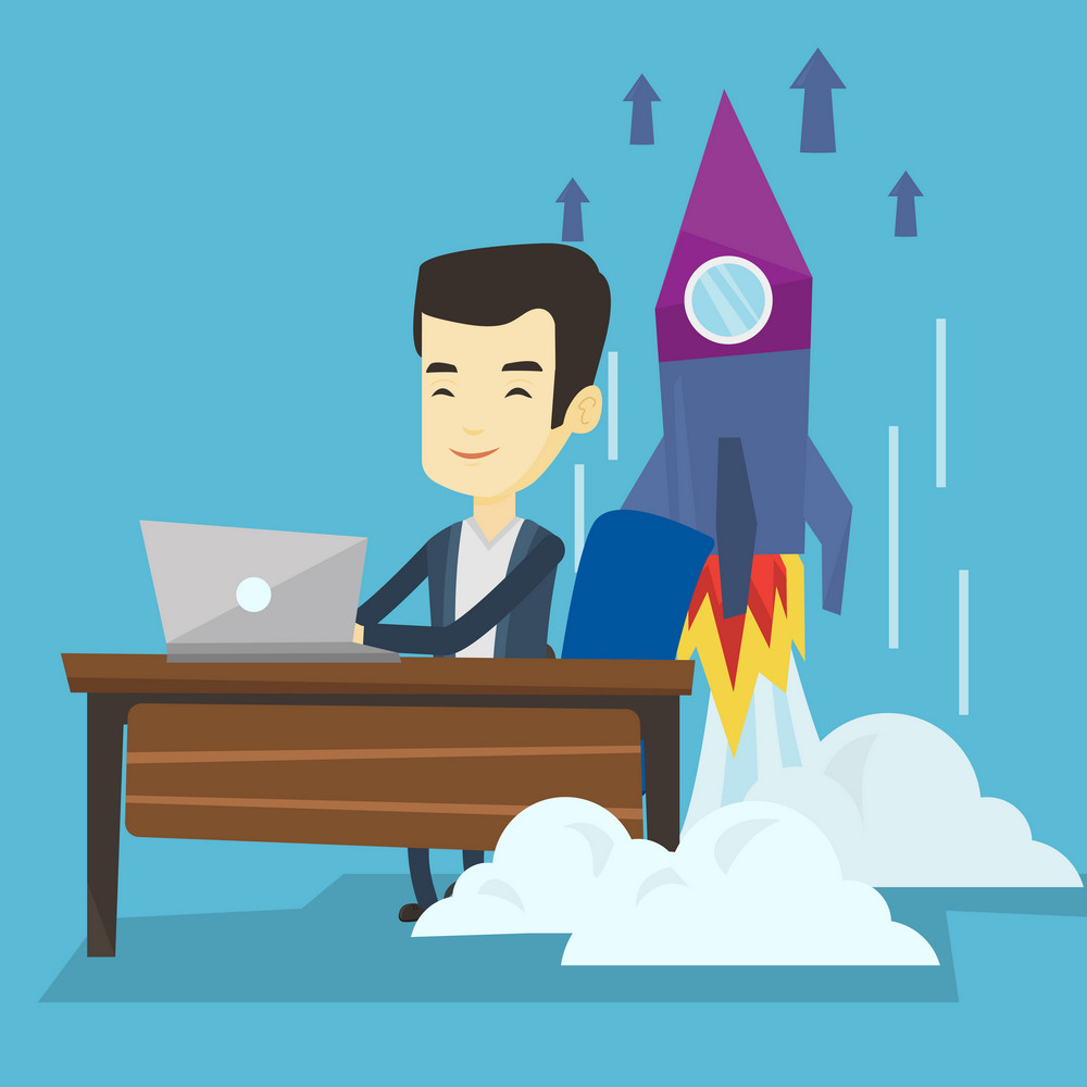Young asian business man working on a laptop on business start up and business start up rocket taking off behind him. Business start up concept. Vector flat design illustration. Square layout.