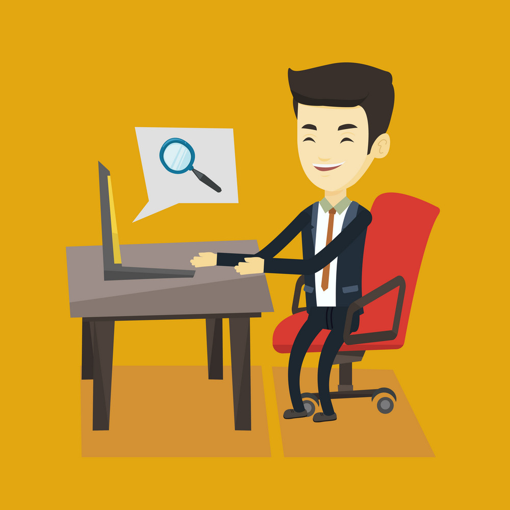 Young asian business man working on his laptop in office and searching information on internet. Concept of internet search and job search. Vector flat design illustration. Square layout.