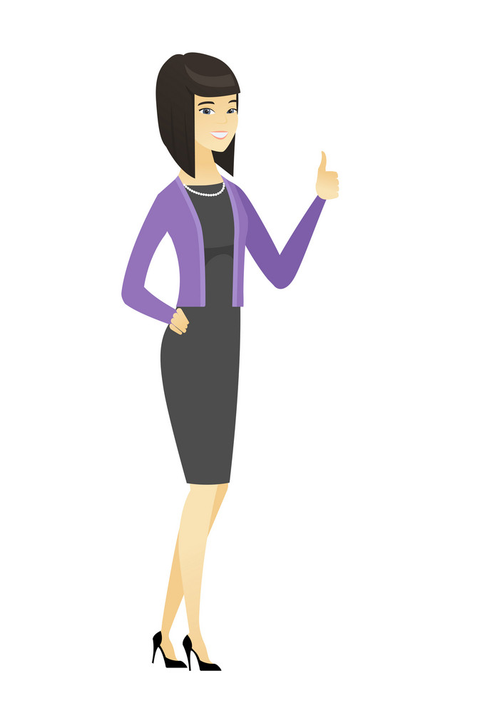Young asian business woman giving thumb up. Full length of smiling business woman with thumb up. Business woman showing thumb up. Vector flat design illustration isolated on white background.