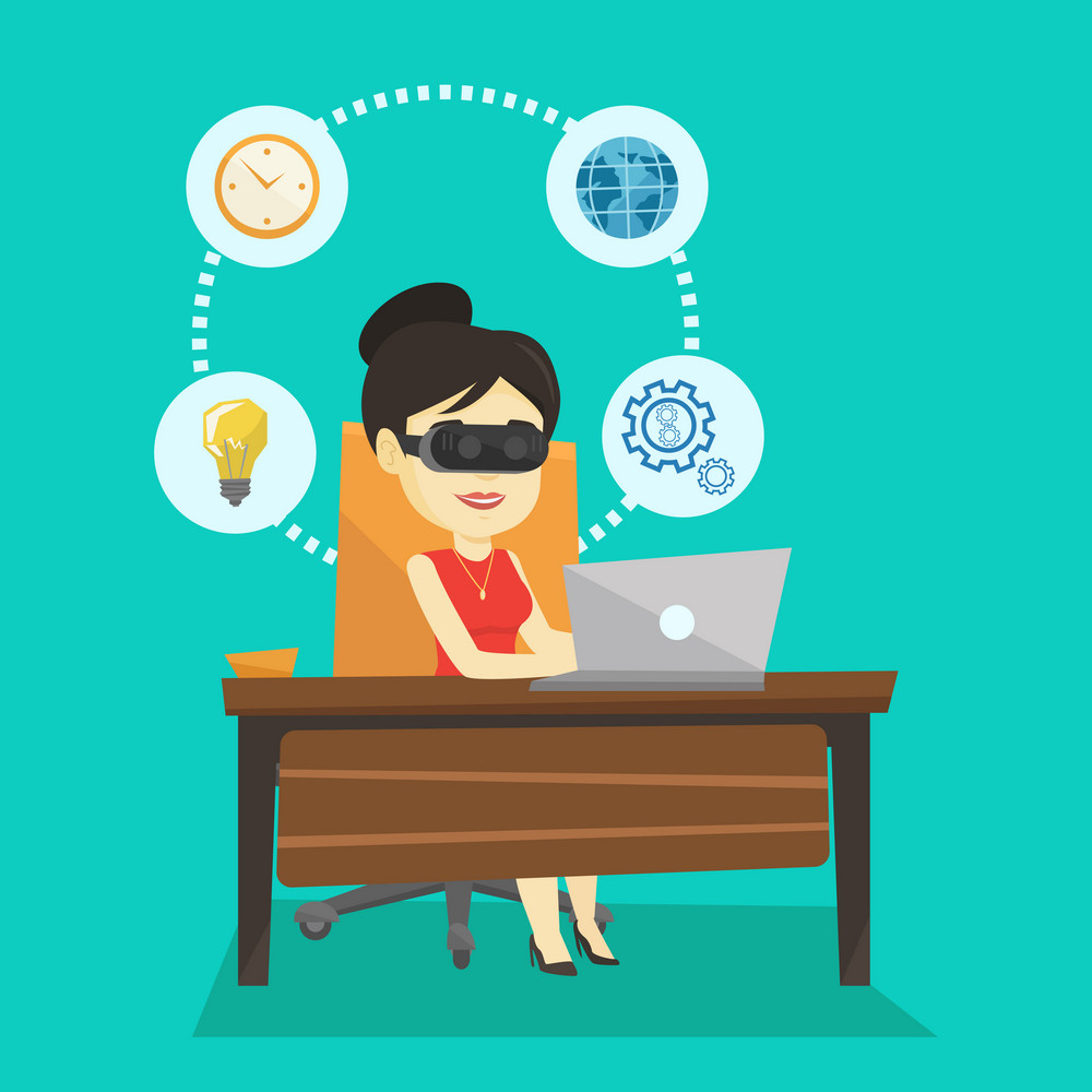 Young asian business woman wearing virtual reality headset and working on computer. Happy business woman using virtual reality device in the office. Vector flat design illustration. Square layout.