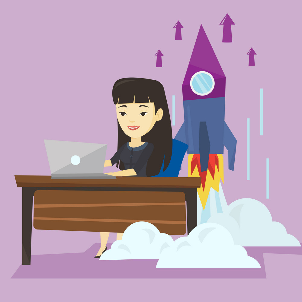 Young asian business woman working on a laptop on business start up and business start up rocket taking off behind her. Business start up concept. Vector flat design illustration. Square layout.