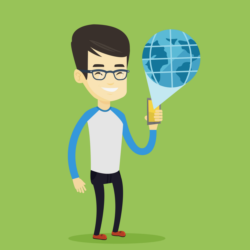 Young asian businessman holding a smartphone with a model of planet earth coming out of the device. International technology communication concept. Vector flat design illustration. Square layout.