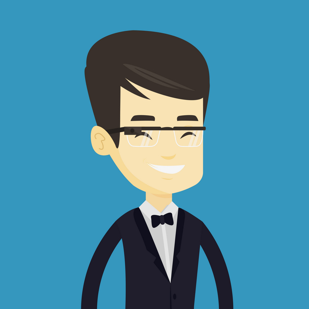 Young asian businessman in wearable computer. Businessman wearing wearable computer with an optical head-mounted display. Man using wearable computer. Vector flat design illustration. Square layout.