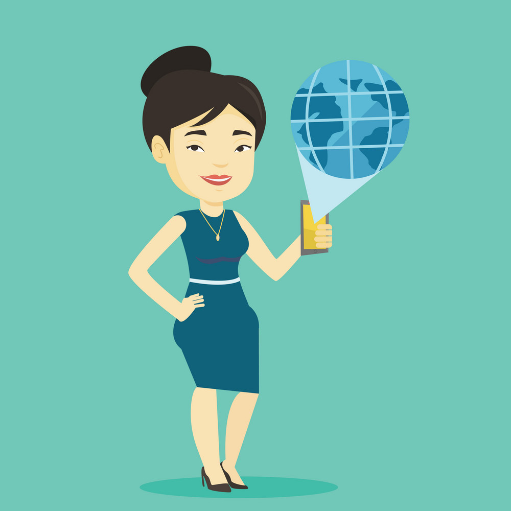 Young asian businesswoman holding a smartphone with a model of planet earth coming out of the device. International technology communication concept. Vector flat design illustration. Square layout.