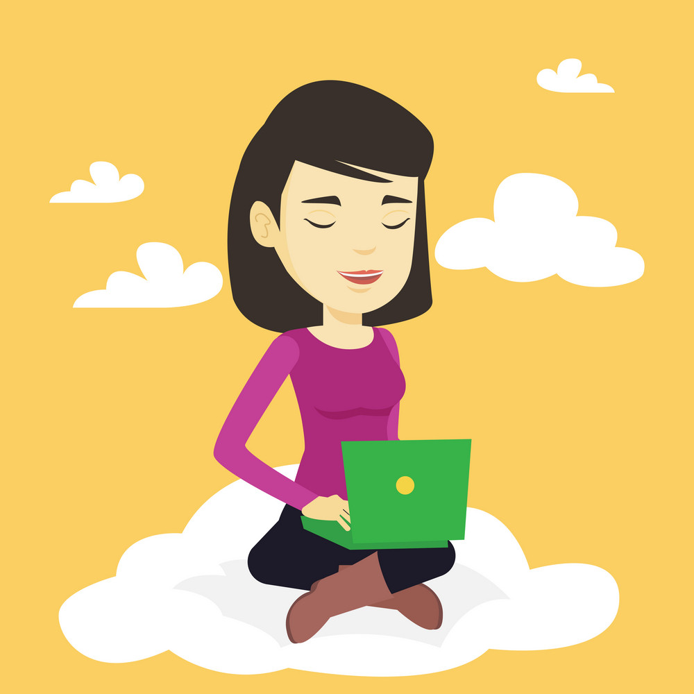 Young asian businesswoman sitting on a cloud with laptop. Woman using cloud computing technology. Woman working on computer. Concept of cloud computing . Vector flat design illustration. Square layout