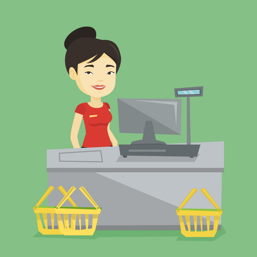 Young asian cashier standing at the checkout in supermarket. Cashier working at checkout in a supermarket. Cashier standing near the cash register. Vector flat design illustration. Square layout.