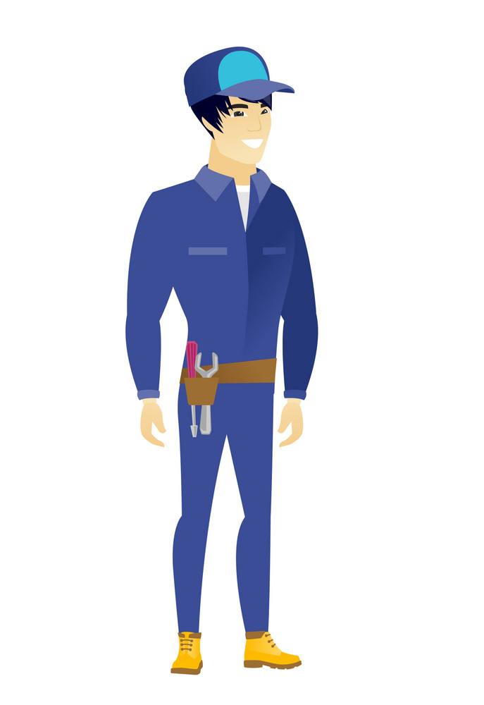 Young asian confident mechanic. Full length of smiling confident mechanic. Mechanic standing in a pose signifying confidence. Vector flat design illustration isolated on white background.