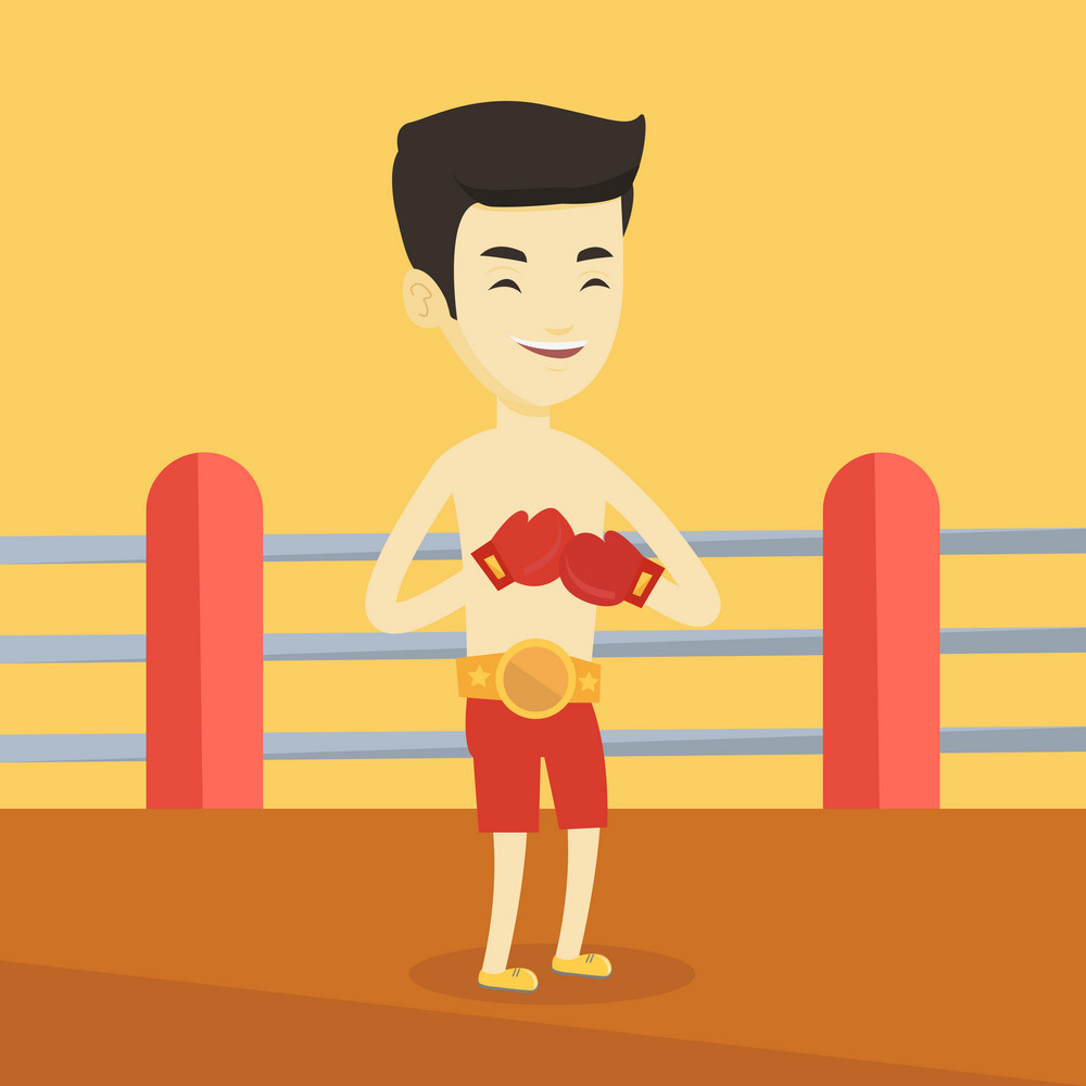 Young asian confident sportsman in boxing gloves. Professional male boxer standing in the boxing ring. Smiling sportive man wearing red boxing gloves. Vector flat design illustration. Square layout.