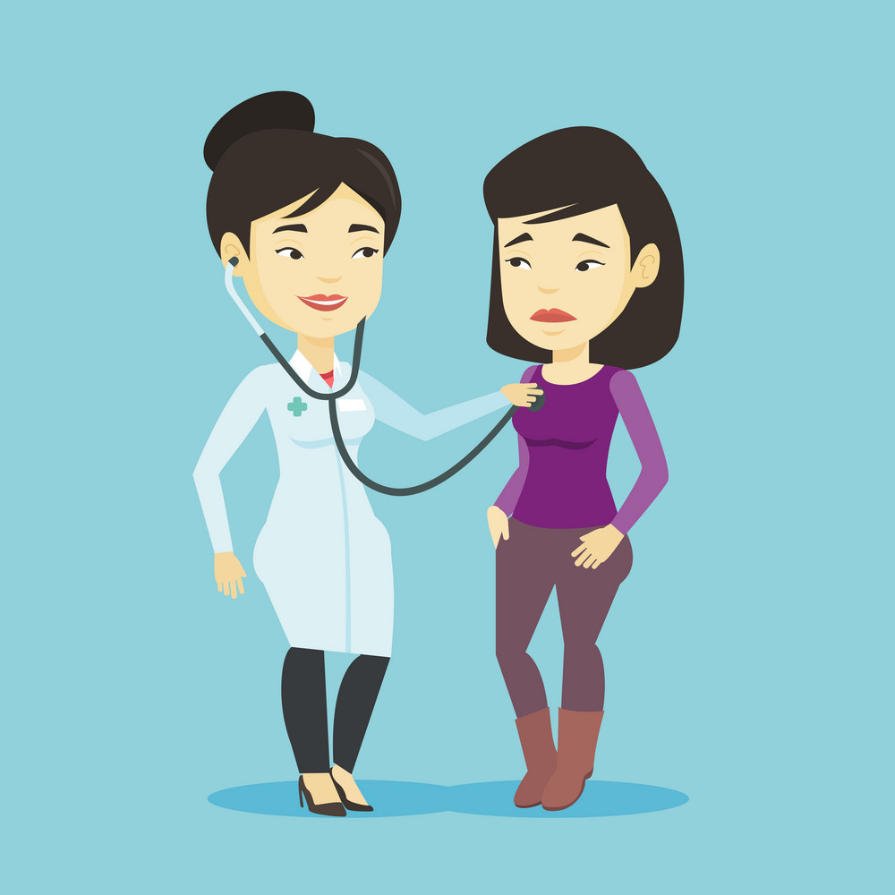 Young asian doctor listening to chest of patient with stethoscope. Sick patient visiting doctor. Doctor in medical gown examining chest of a patient. Vector flat design illustration. Square layout.