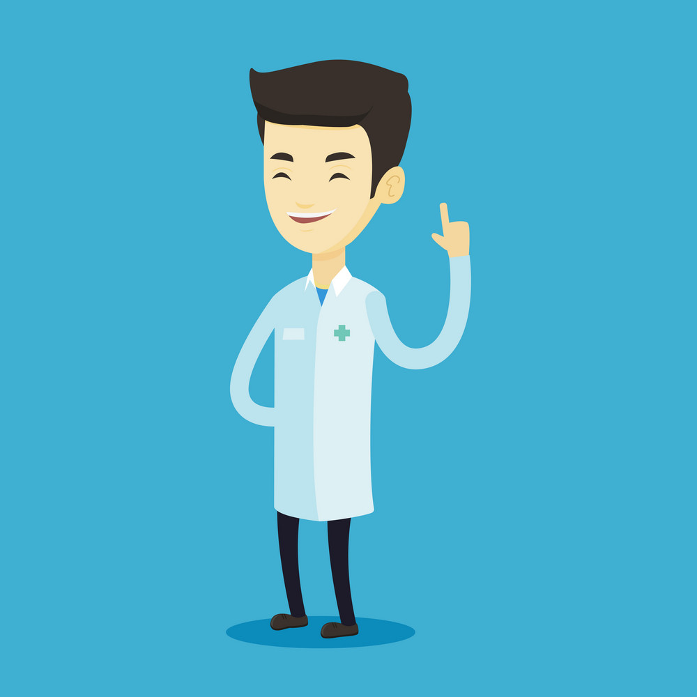 Young asian doctor with finger up. Cheerful doctor in medical gown showing finger up. Man in doctor uniform pointing finger up. Vector flat design illustration. Square layout.