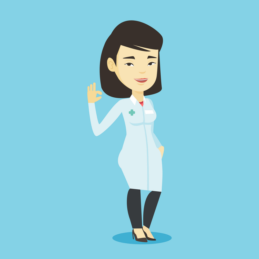 Young asian doctor with ok sign gesture. Happy doctor in medical gown showing ok sign. Smiling doctor gesturing ok sign. Vector flat design illustration. Square layout.