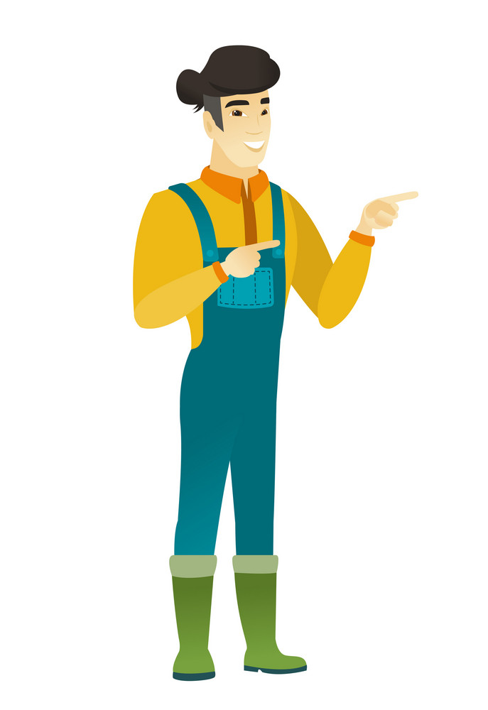 Young asian farmer in coveralls pointing to the side. Farmer pointing his finger to the side. Happy farmer pointing to the right side. Vector flat design illustration isolated on white background.