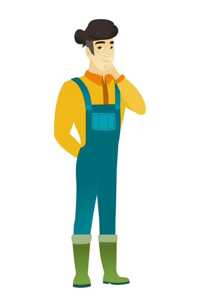 Young asian farmer in coveralls thinking. Full length of thinking farmer with hand on his chin. Farmer thinking and looking to the side. Vector flat design illustration isolated on white background.