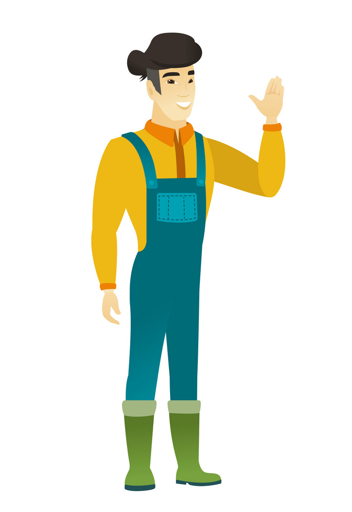 Young asian farmer in coveralls waving his hand. Full length of farmer waving his hand. Farmer making greeting gesture - waving hand. Vector flat design illustration isolated on white background.
