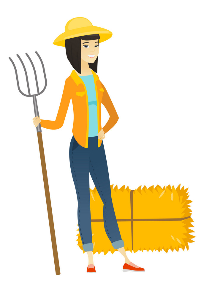 Young asian farmer in summer hat standing with a pitchfork on the background of hay bales. Full length of farmer holding a pitchfork. Vector flat design illustration isolated on white background.