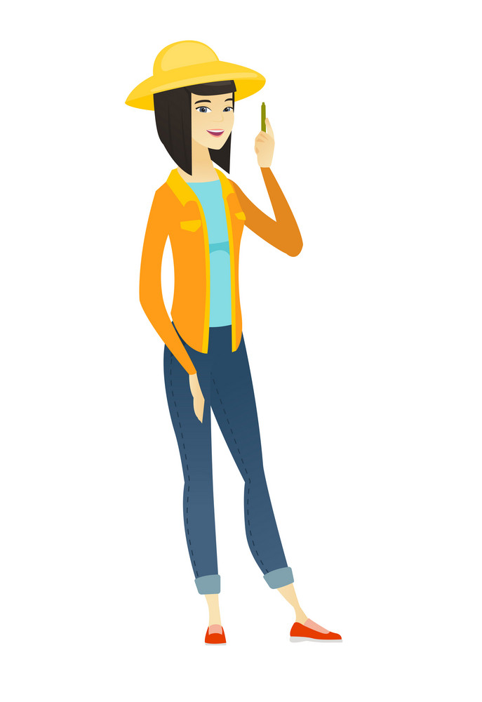 Young asian farmer with a pencil. Female farmer in summer hat giving a speech with a pencil. Smiling female farmer holding a pencil. Vector flat design illustration isolated on white background.
