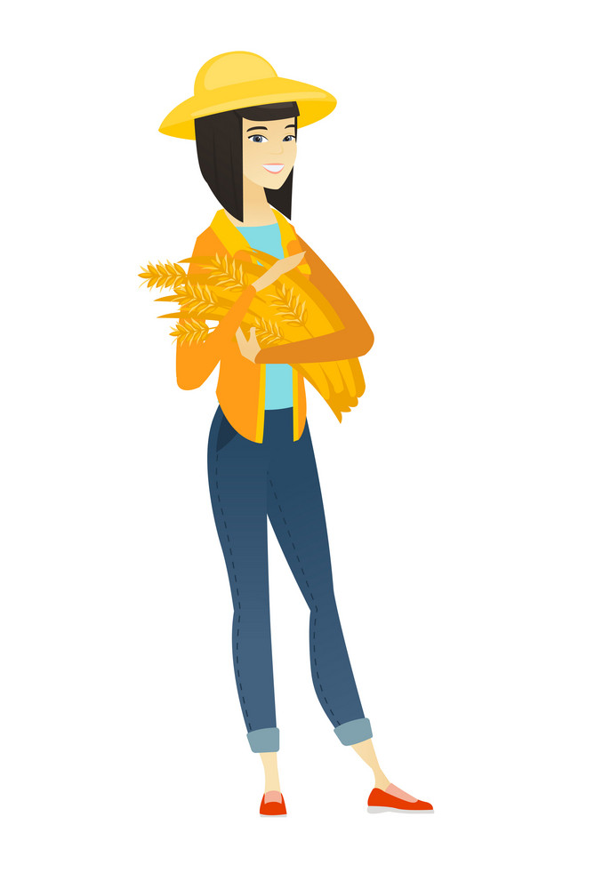 Young asian female farmer in summer hat holding hay in hands. Full length of smiling female farmer with hay in hands. Farmer carrying hay. Vector flat design illustration isolated on white background.