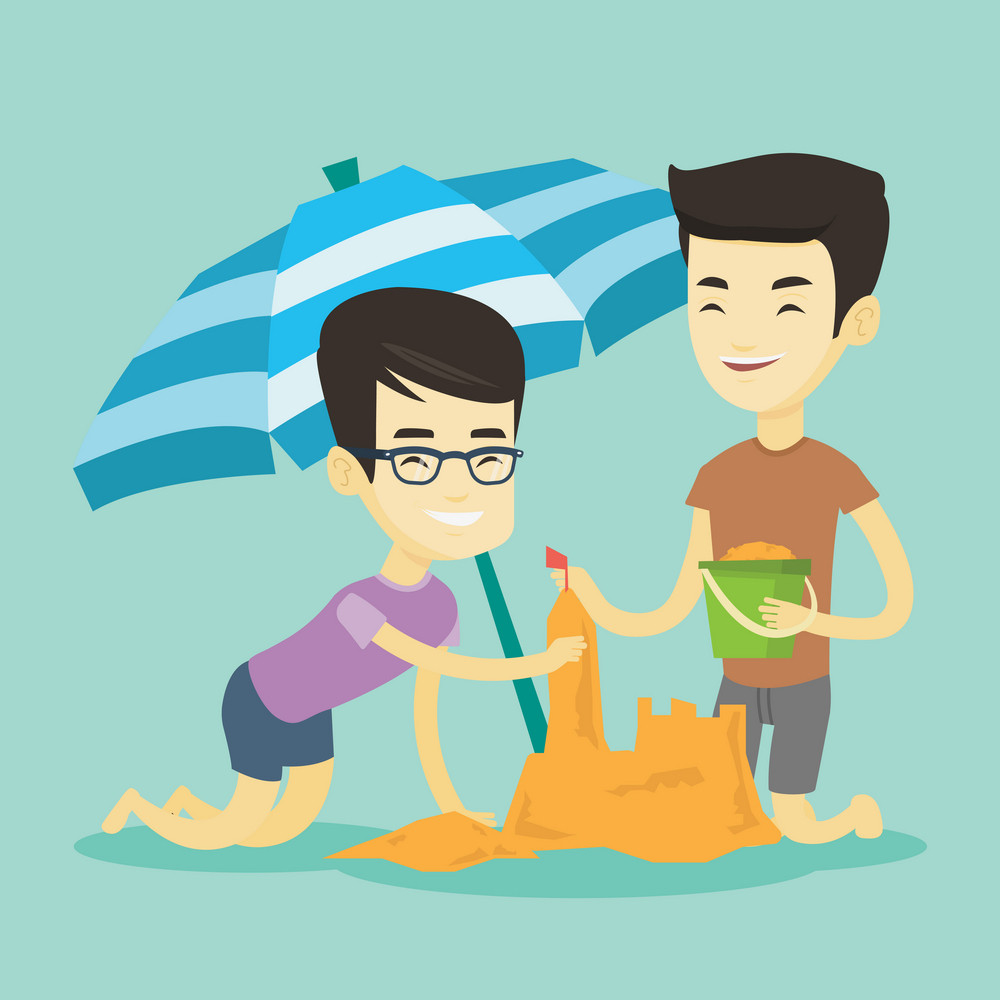 Young asian friends making sand castle on the beach under beach umbrella. Smiling friends building sandcastle. Tourism and beach holiday concept. Vector flat design illustration. Square layout.