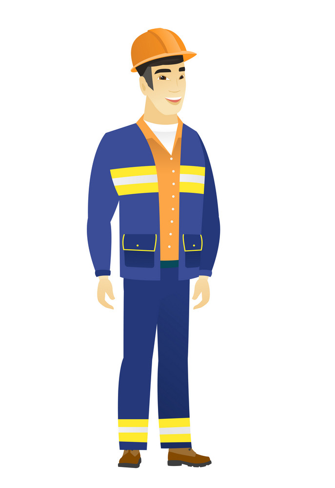 Young asian happy builder in hard hat and workwear. Full length of smiling happy builder posing. Illustration of happy standing builder. Vector flat design illustration isolated on white background.