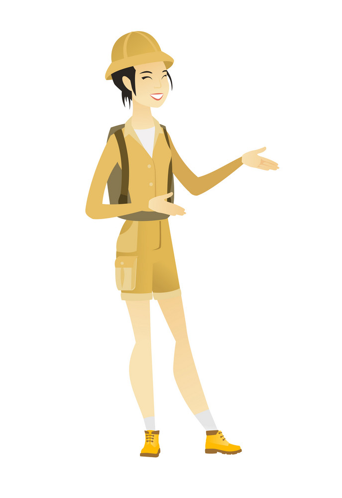 Young asian happy traveler gesturing. Full length of cheerful traveler gesturing with her hands. Female traveler laughing and gesturing. Vector flat design illustration isolated on white background.