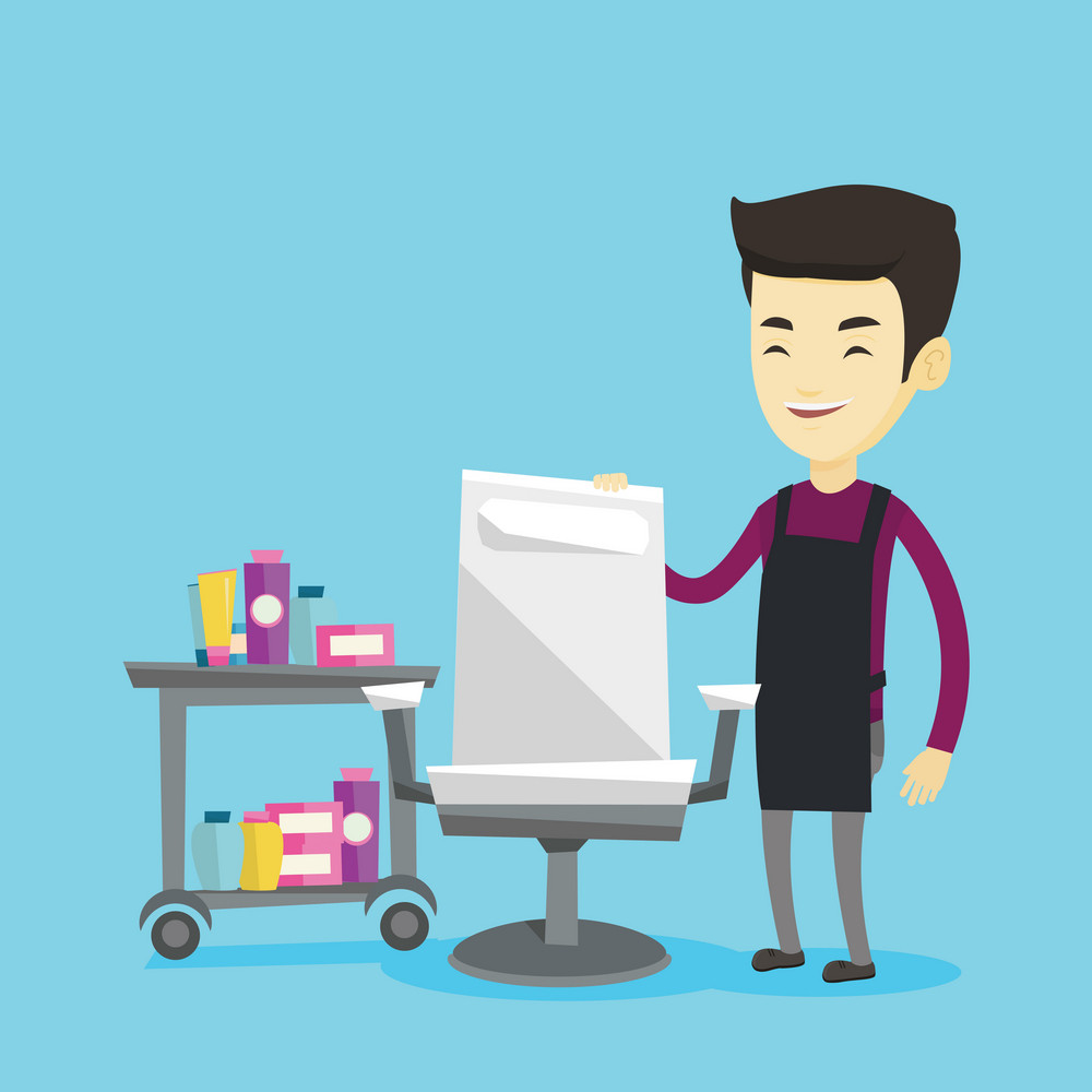 Young asian male barber standing near armchair and table with cosmetics in barber shop. Professional male barber standing at workplace in barber shop. Vector flat design illustration. Square layout.