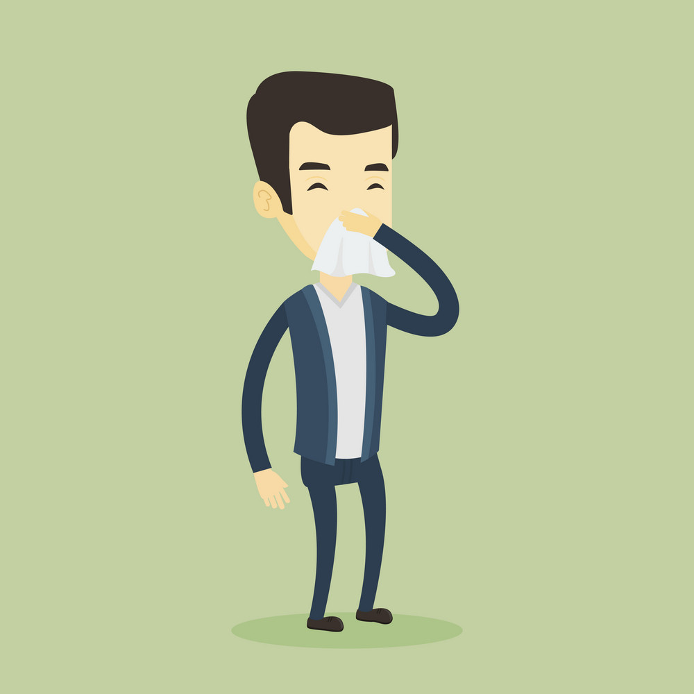 Young asian man blowing his nose to paper napkin. Sick man sneezing with closed eyes. Unwell man having an allergy and blowing his nose to a tissue. Vector flat design illustration. Square layout.