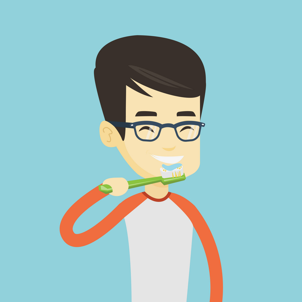 Young asian man brushing his teeth. Smiling man cleaning his teeth. Cheerful man taking care of his teeth. Cheerful guy with toothbrush in hand. Vector flat design illustration. Square layout.
