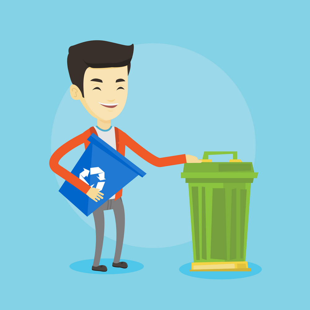 Young asian man carrying recycling bin. Smiling man holding recycling bin while standing near a trash can. Concept of waste recycling. Vector flat design illustration. Square layout.