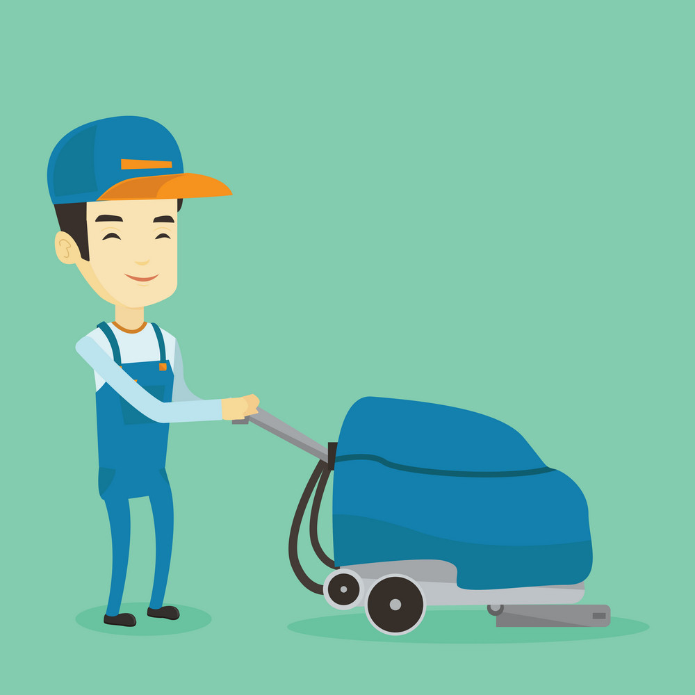 Young asian man cleaning supermarket floor. Friendly man working with cleaning machine. Cheerful male worker of cleaning services in supermarket. Vector flat design illustration. Square layout.