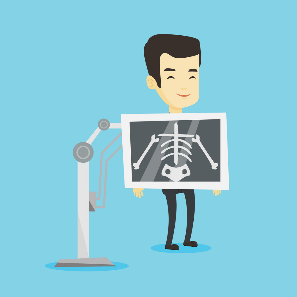 Young asian man during chest x ray procedure. Smiling man with x ray screen showing his skeleton. Happy patient visiting roentgenologist. Vector flat design illustration. Square layout.