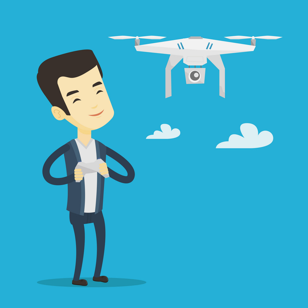 Young asian man flying drone with remote control. Man operating a drone with remote control. Man controling a drone. Vector flat design illustration. Square layout.