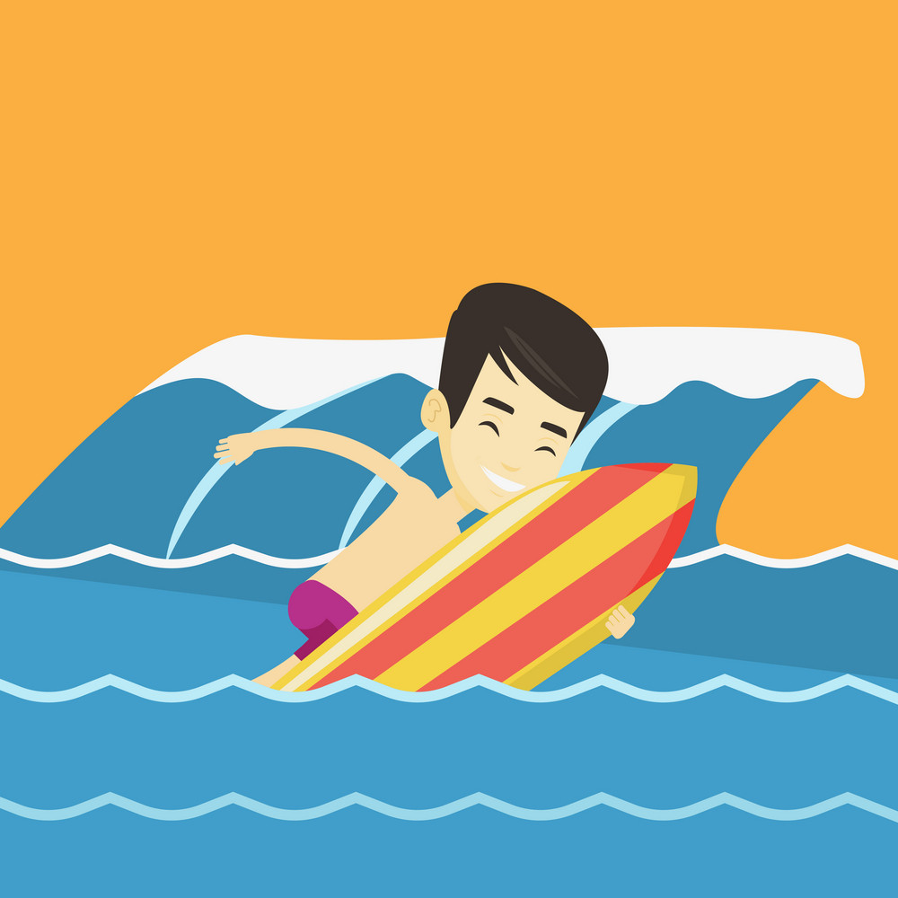 Young asian man having fun during execution of a move on a blue ocean wave. Happy surfer in action on a surf board. Lifestyle and water sport concept. Vector flat design illustration. Square layout.