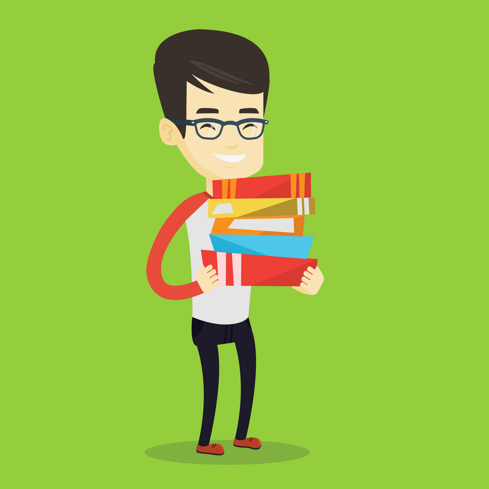 Young asian man holding a pile of educational books in hands. Smiling student carrying huge stack of books. Student preparing for exam with books. Vector flat design illustration. Square layout.